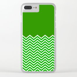 Solid Green Chevron Clear iPhone Case