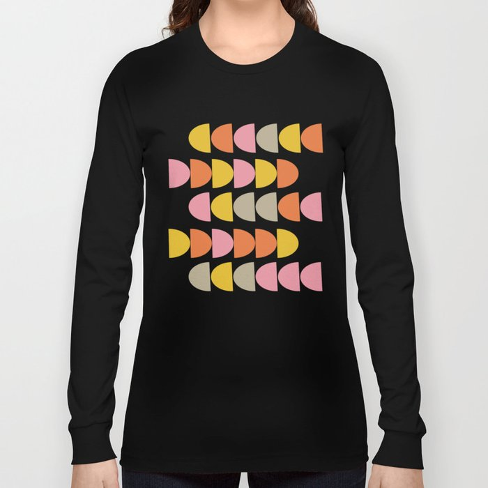 Cute Geometric Shapes Pattern in Pink Orange and Yellow Long Sleeve T-shirt