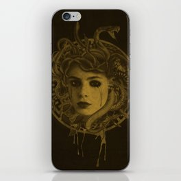 Golden Medusa Greek Mythology Illustration iPhone Skin