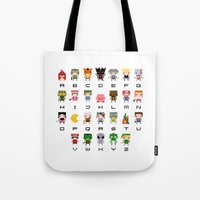 video games Tote Bags featuring Video Games Pixel Alphabet by PixelPower