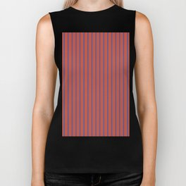 Minimalist Vertical Geometric Seamless Stripe Red & Navy Pattern Biker Tank