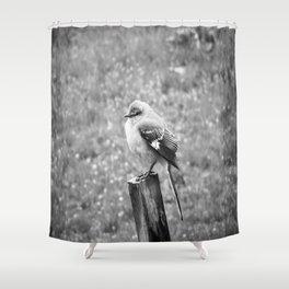 The Bird Dark Black and White Shower Curtain