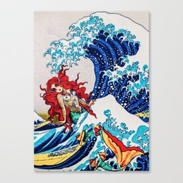 Mermaids love surfing Canvas Print
