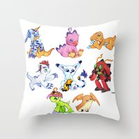 digimon Throw Pillows featuring Digimon Group by Catus