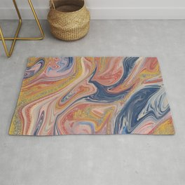 Abstract Oil and Glitter Painting Rug