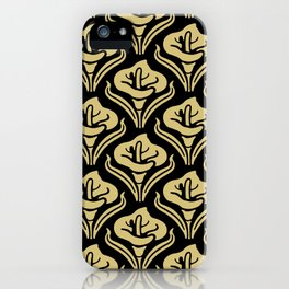 Calla Lily Pattern Black and Gold iPhone Case