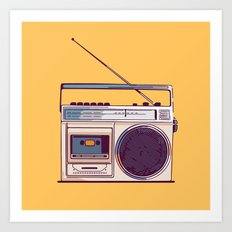 Retro Radio Boombox from 80s Art Print
