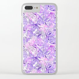 Lilac watercolor leaves Clear iPhone Case