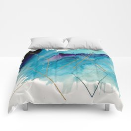 Galaxy Series 1 - a blue and gold abstract mixed media set Comforters