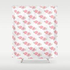 Pink Watercolor Ranunculus print w/grunge Shower Curtain