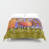 bar Duvet Covers featuring EXPRESSO BAR by Cheryl Daniels
