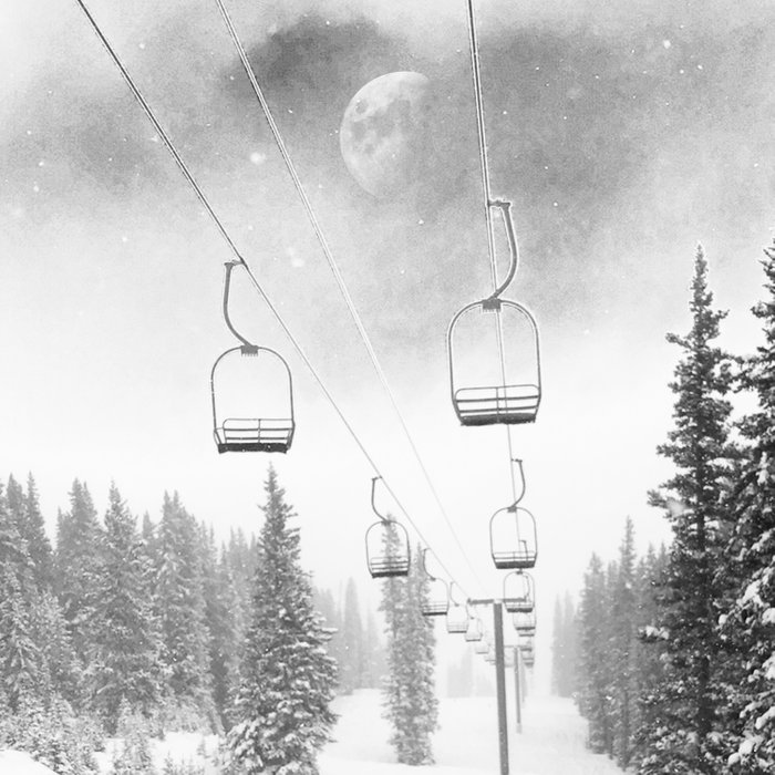 Chairlift Moon Break // Riding the Mountain at Copper Colorado Luna Sky Peeking Foggy Clouds Comforters