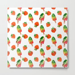 Watercolor strawberry fruit illustration Metal Print