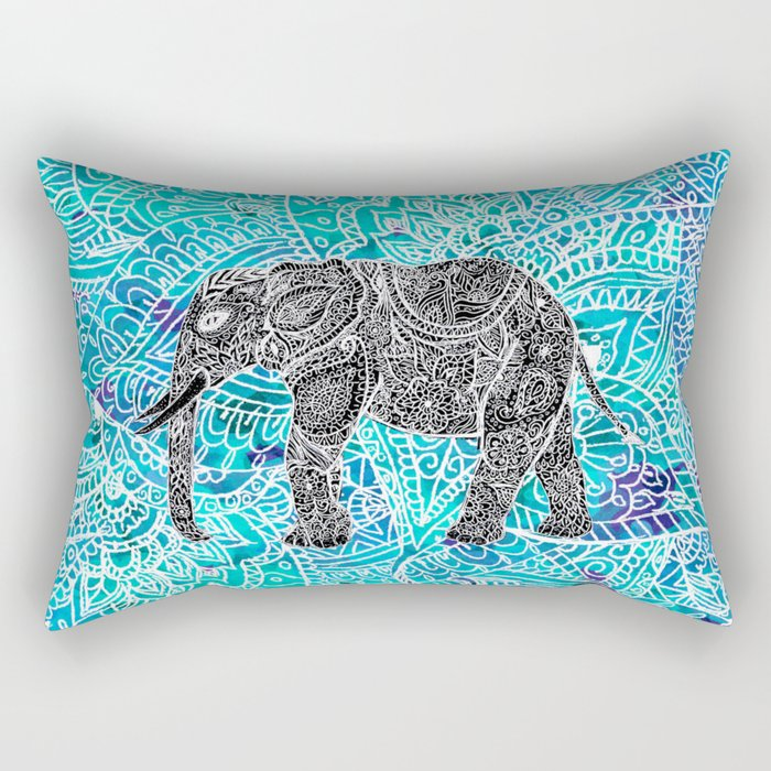 Mandala paisley boho elephant blue turquoise watercolor illustration Rectangular Pillow