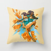 magical girl Throw Pillows featuring Magical Girl Gladiolus by Anna Landin