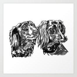 dacshund love Art Print