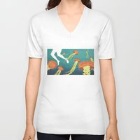 jellyfish V-neck T-shirts featuring jellyfish by Kerry Hyndman