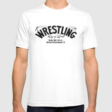 Wrestling Logo From Decades Ago Mens Fitted Tee White SMALL