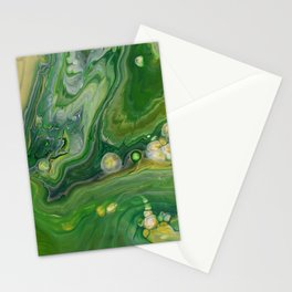 Take Five II -  Green Yellow Fluid Marble Painting Stationery Cards