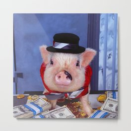 Funny pig and  the money Metal Print