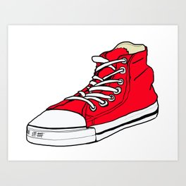 big red shoe Art Print
