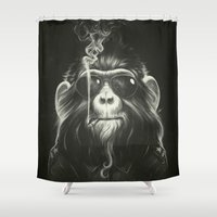 surrealism Shower Curtains featuring Smoke 'Em If You Got 'Em by Dr. Lukas Brezak