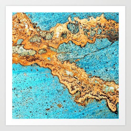 Aqua & Gold Art Print