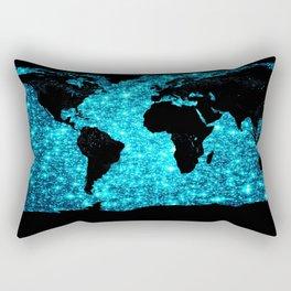 wOrld map Turquoise Sparkle Rectangular Pillow