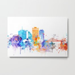 New Orleans Watercolor Skyline Metal Print