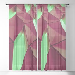 Dark Red & Kryptonite by Brian Vegas Sheer Curtain