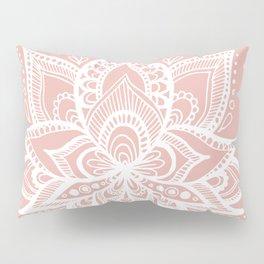 White Lotus Flower on Rose Gold Pillow Sham