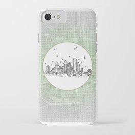 Philadelphia, Pennsylvania City Skyline Illustration Drawing iPhone Case