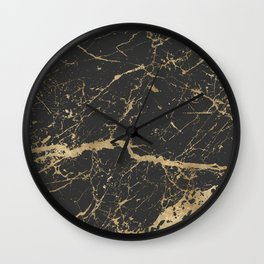 Marble Black Gold - Whistle Wall Clock
