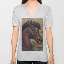 Vintage Horse Illustration (1893) Unisex V-Neck