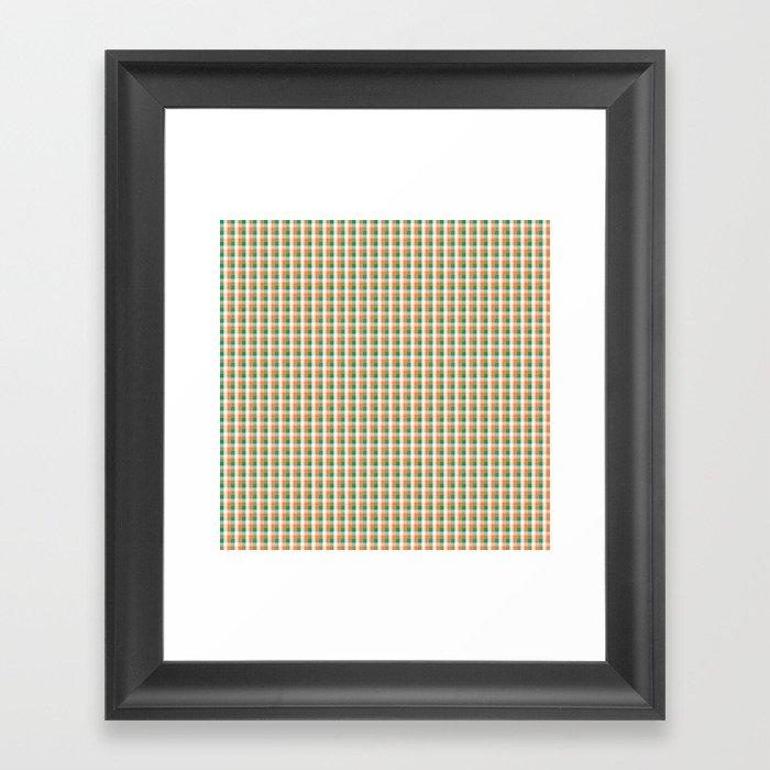 Small Orange White and Green Irish Gingham Check Plaid Gerahmter Kunstdruck