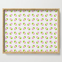 square and tartan 19 - Pink and green Serving Tray