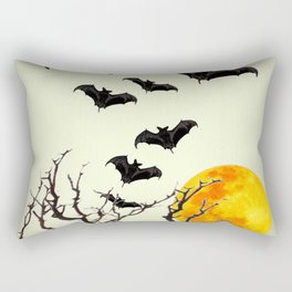 GOTHIC HALLOWEEN FULL MOON BLACK FLYING BATS DESIGN Rectangular Pillow