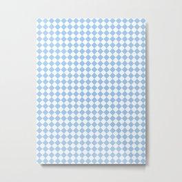 Small Diamonds - White and Baby Blue Metal Print