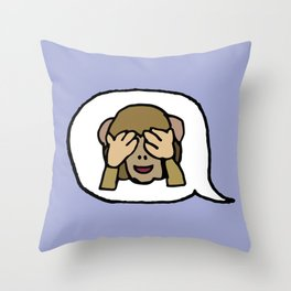 Hand-drawn Emoji - Monkey See, See No Evil Throw Pillow