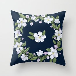 Apple blossom on blue Throw Pillow