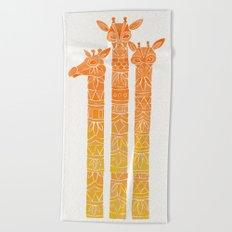 Giraffes – Orange Ombré Beach Towel