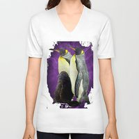 penguins V-neck T-shirts featuring Penguins by SwanniePhotoArt
