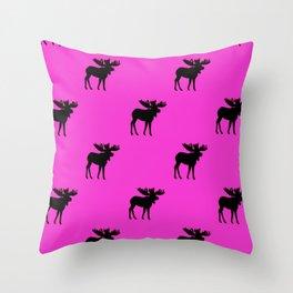 Bull_Moose Silhouette - Black on Pink Throw Pillow