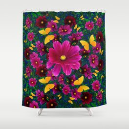 PINK COSMOS YELLOW BUTTERFLIES GARDEN ABSTRACT Shower Curtain