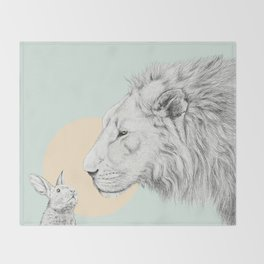 Lion and Bunny Throw Blanket