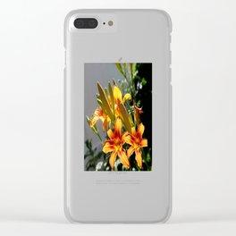 Orange Day Lilies & Buds  Flower Garden Clear iPhone Case