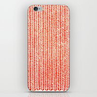 knit iPhone & iPod Skins featuring Stockinette Orange by Elisa Sandoval