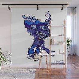 Anarchy Skeleton - Denim Wall Mural