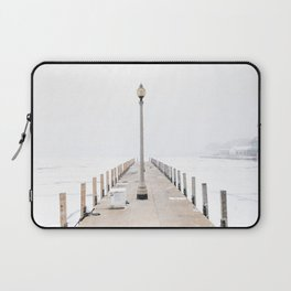 Snowy Lake Michigan Pier Laptop Sleeve