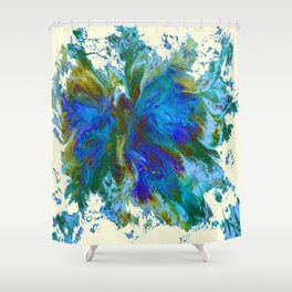 Butterflies are free in teal, blue, green and cream Shower Curtain